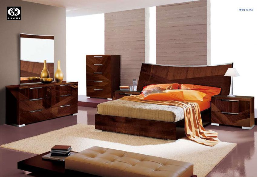 Made in italy wood high end contemporary furniture in brown lacquer san jose california esf capri Best time to buy bedroom furniture on sale