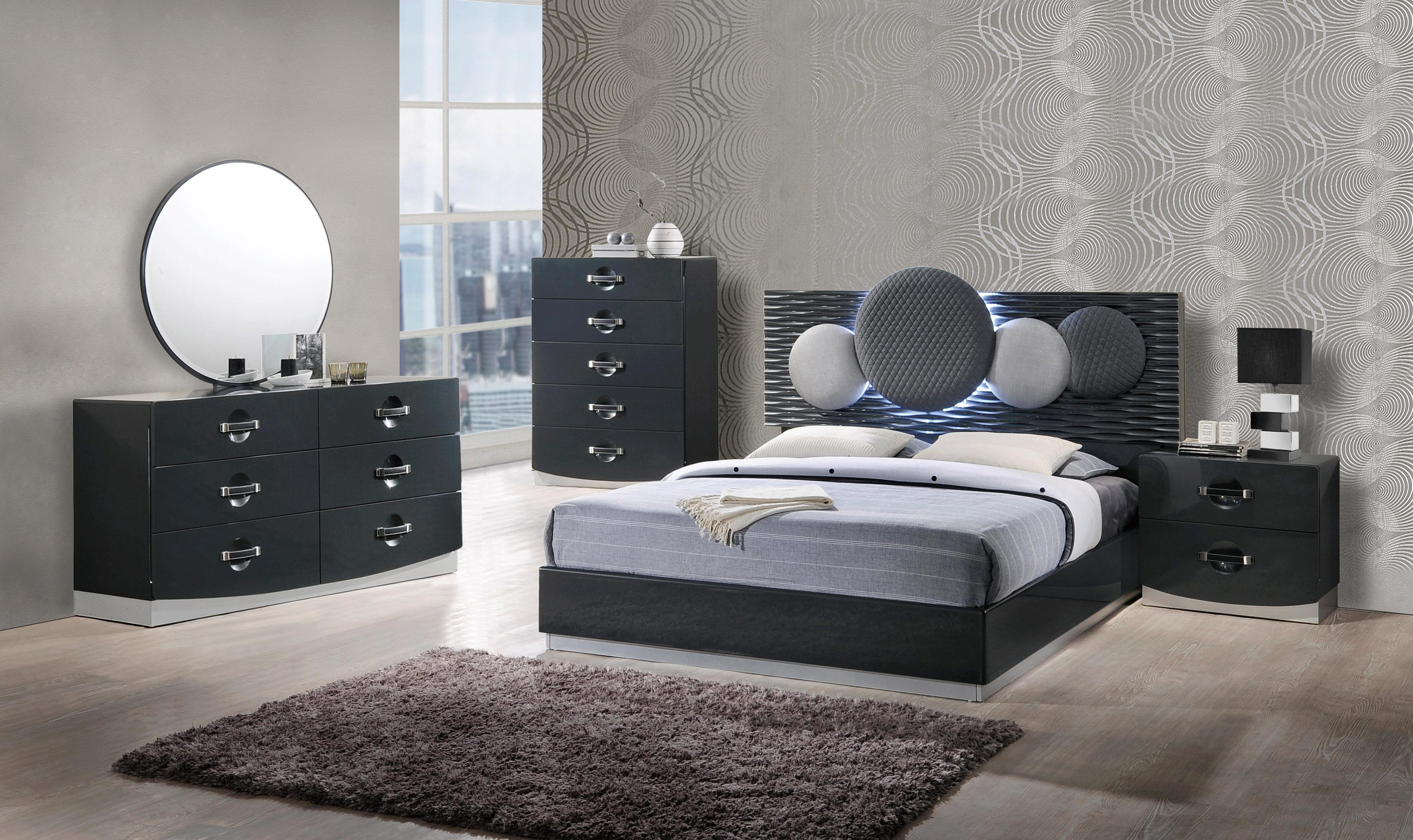 Contemporary dark grey finish led bedroom set chicago illinois global dolce Modern sofas to go with any type of decor