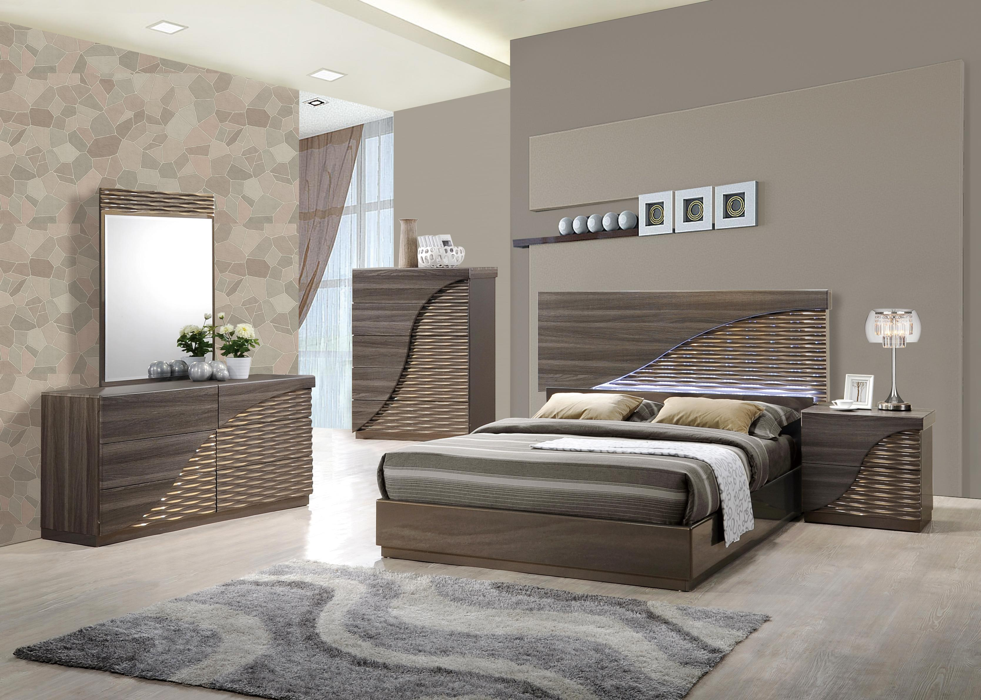 Contemporary Gold Zebra Led Bedroom Set