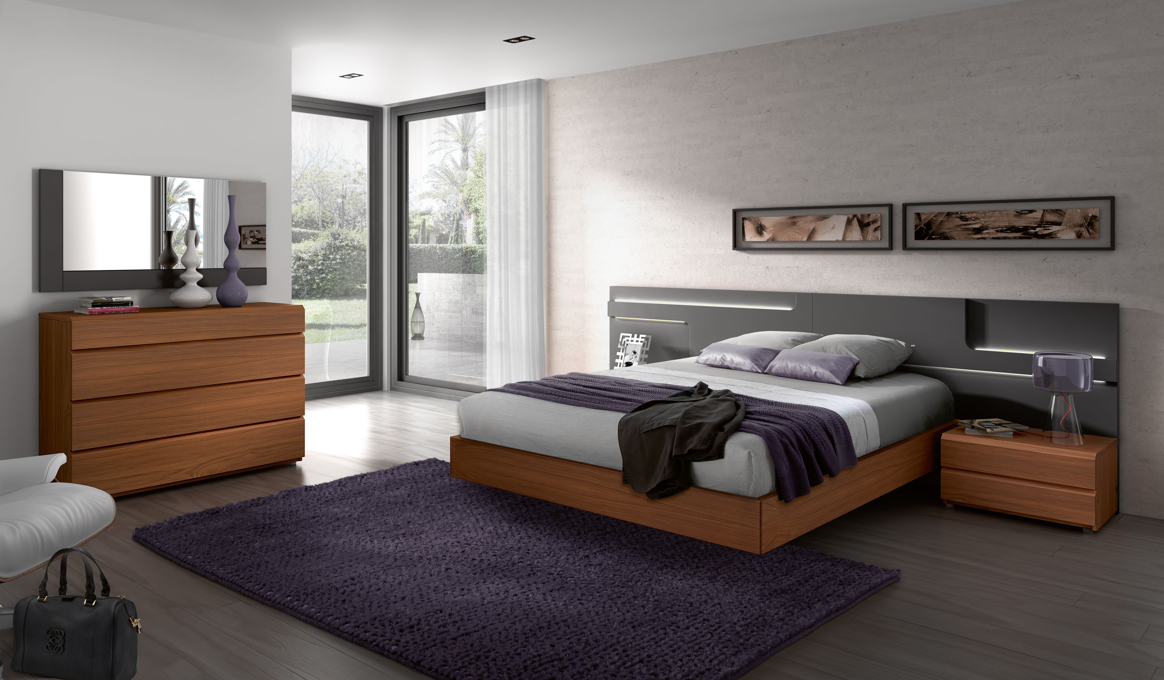 Made in Spain Wood Designer Bedroom Sets with Wide Headboard