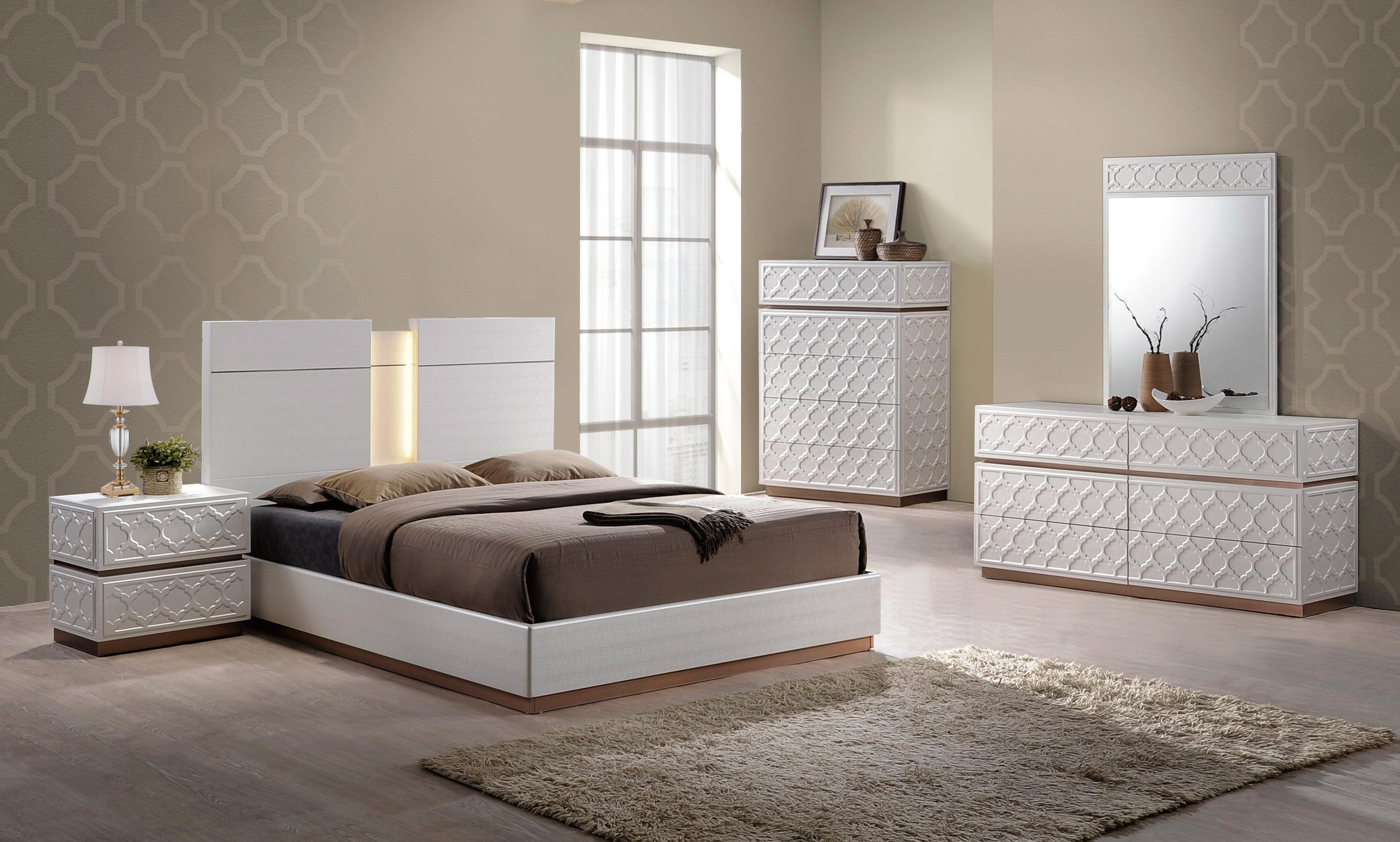 elegant cream and led bedroom set phoenix arizona global-emma