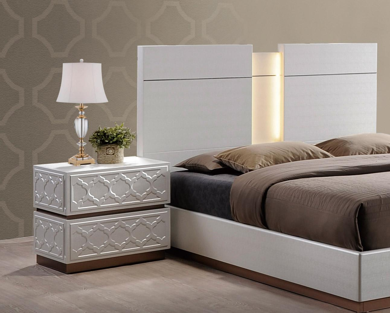 Elegant Cream And Led Bedroom Set Phoenix Arizona Global Emma