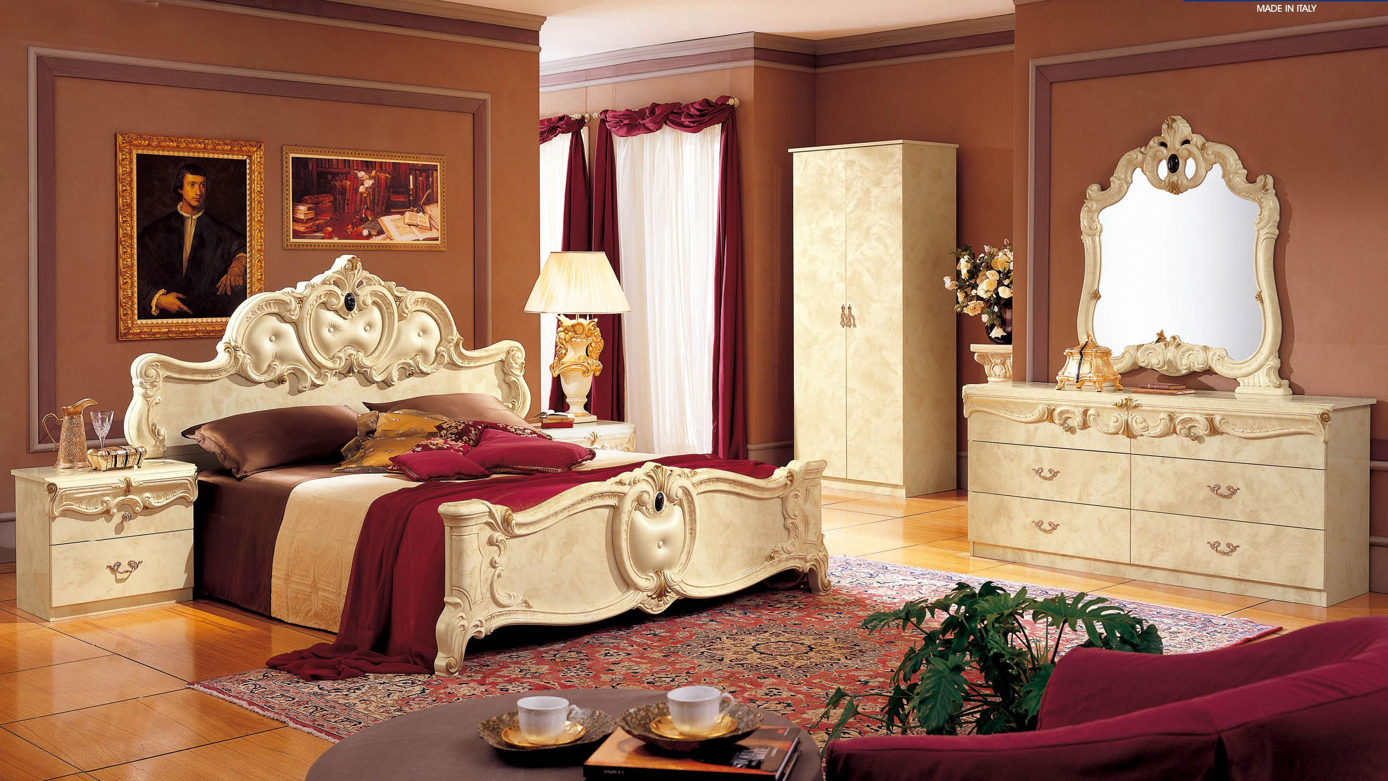 made in italy leather high end bedroom furniture glendale 11905 | esf barocco beroomset
