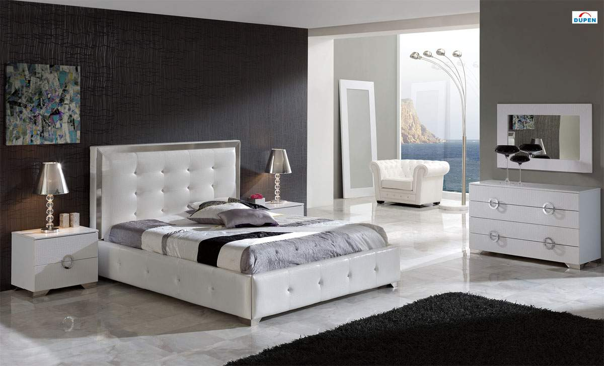 Made in spain leather luxury contemporary furniture set with extra storage austin texas esf coco for Contemporary bedroom furniture
