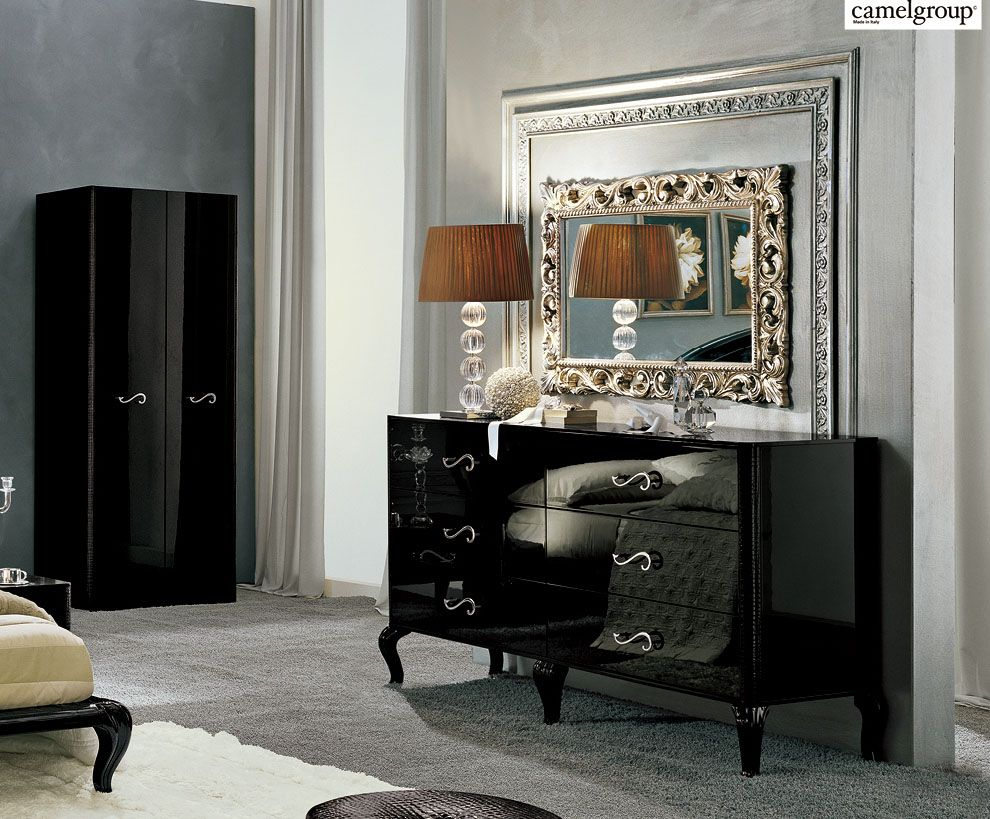 Made In Italy Leather Designer Bedroom Set In High Gloss Black Chicago Illinois Esf Magic 11