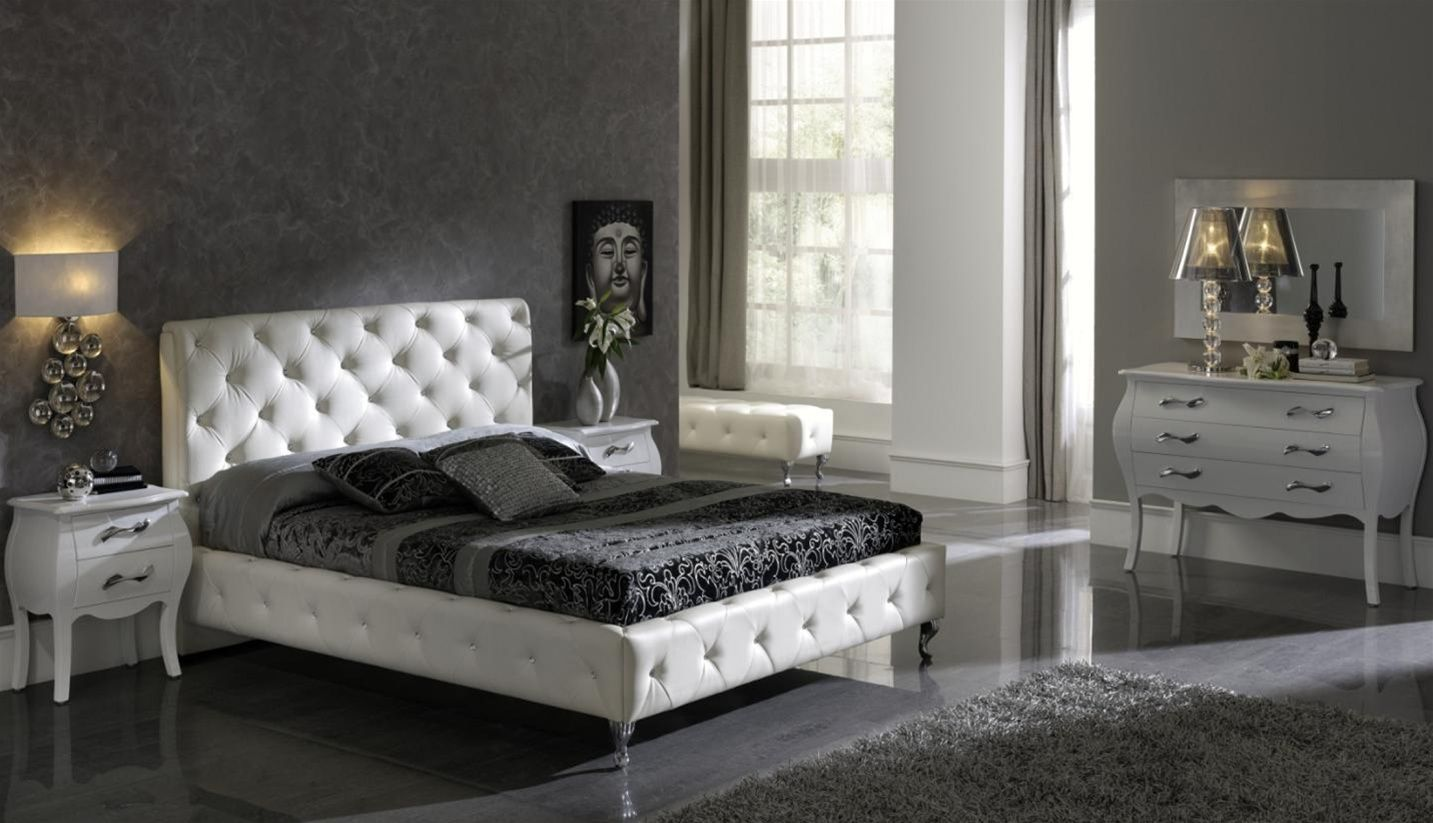 Made in spain leather luxury modern furniture set with for Black and white bedroom ideas for small rooms