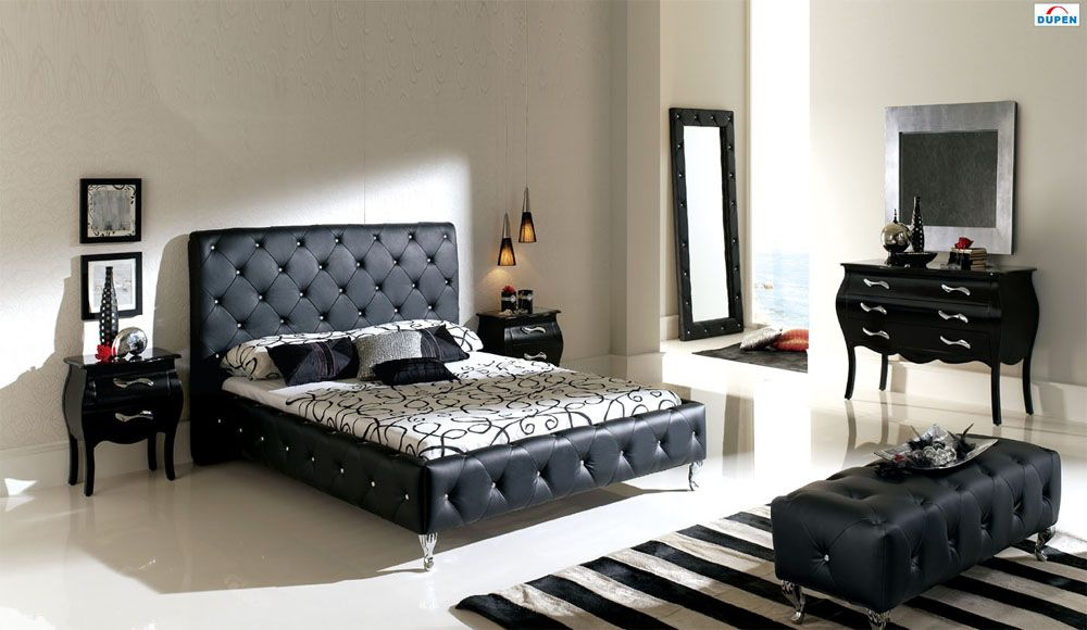 Made in Spain Leather Modern Design Bed Set with Upholstered Bed ...