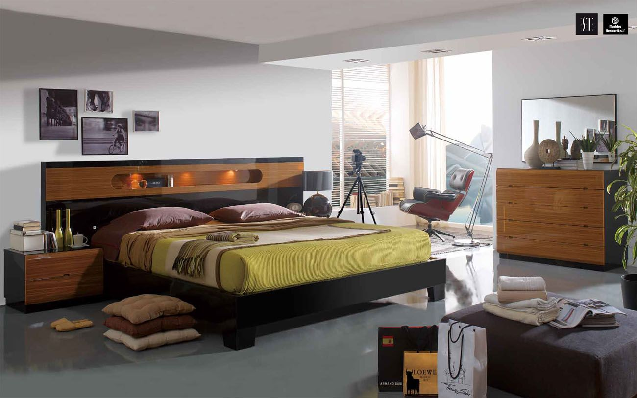 made in spain wood modern design bed set with extra storage durham