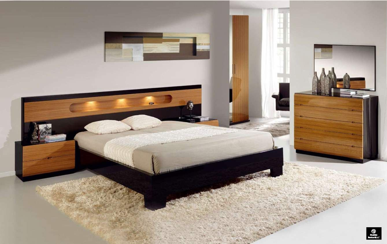 Made In Spain Wood Modern Design Bed Set With Extra