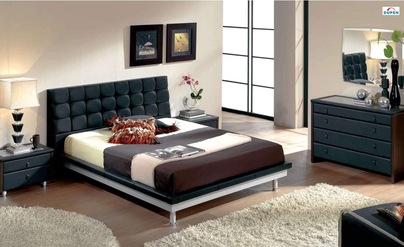 Unique Leather Design Bedroom Furniture with Padded Headboard