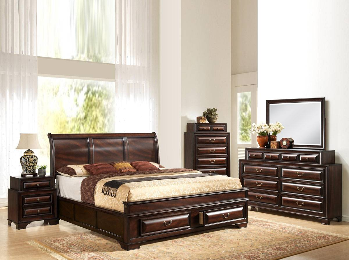Fashionable Wood Contemporary Platform Bedroom Sets with Extra Storage