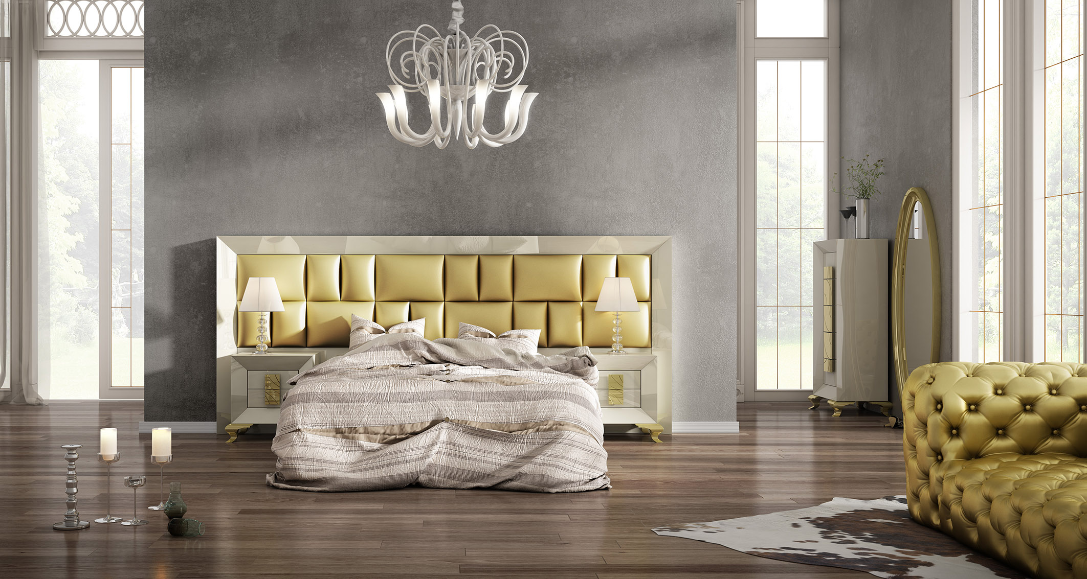 Made In Spain Leather High End Bedroom Furniture Chicago