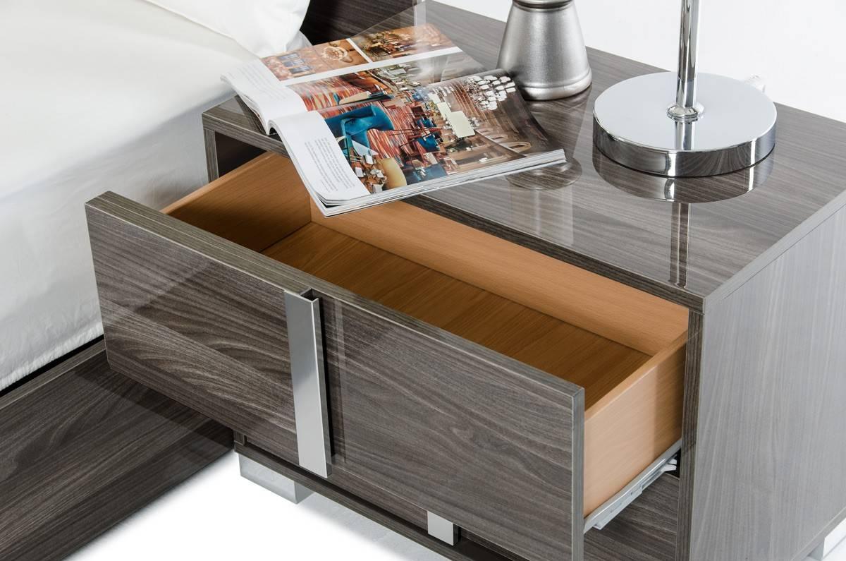 Made In Italy Leather Platform Bedroom Furniture Sets With Led Headboard Las Vegas Nevada Vig San Marino Grey