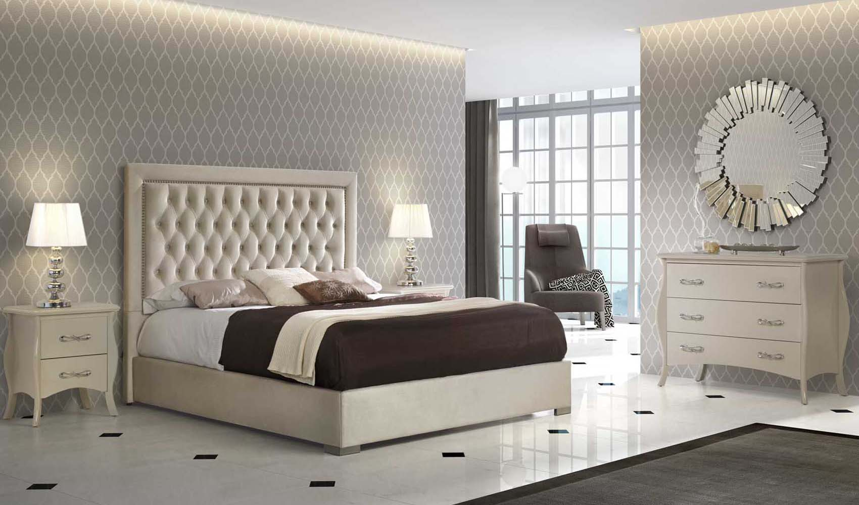 High End Modern Design Cream Bedroom Set