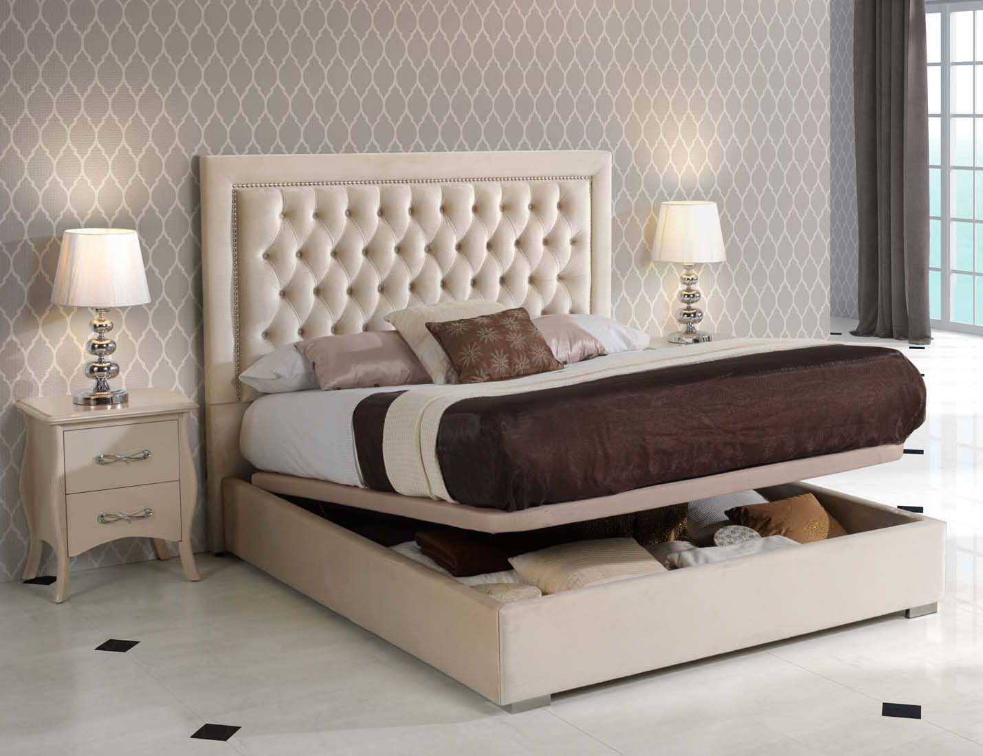 High End Modern Design Cream Bedroom Set - Click Image to Close