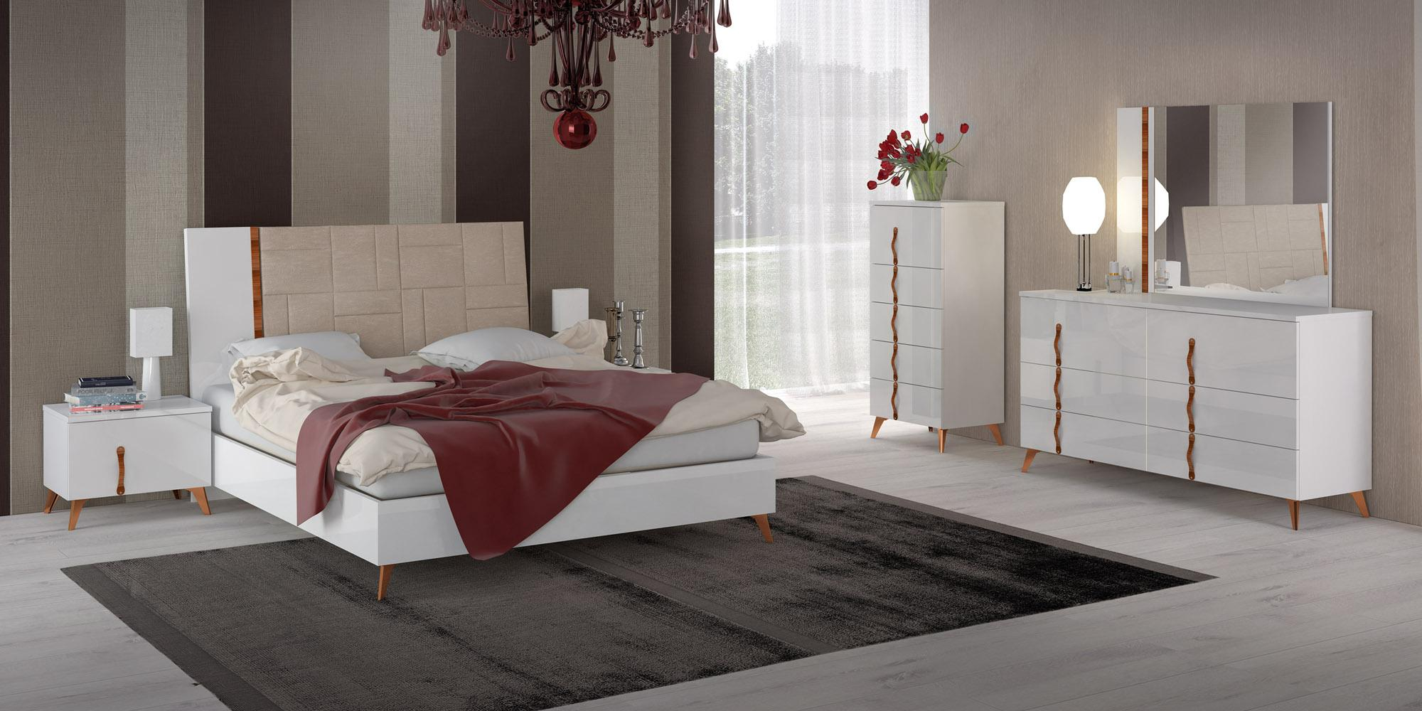 Made In Italy Leather Elite Modern Bedroom Sets With Extra