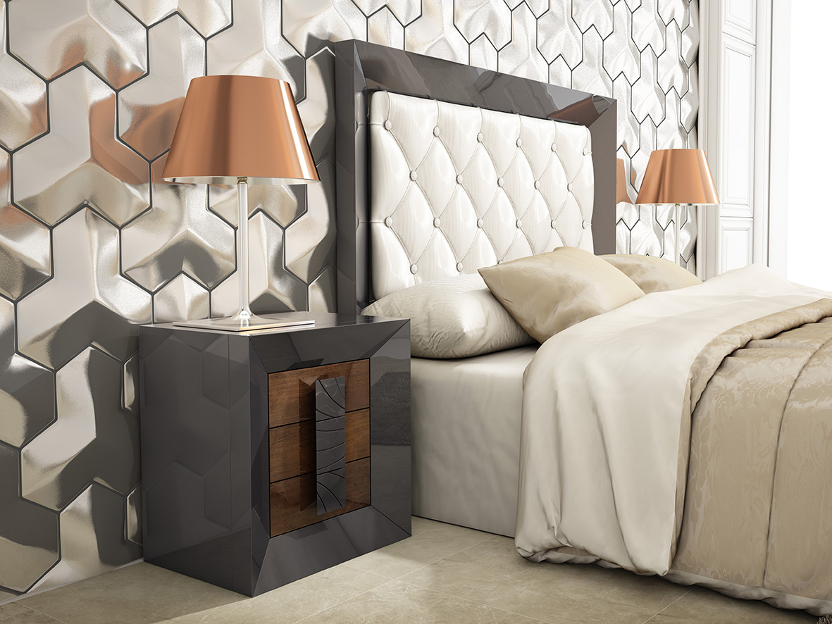 Refined Leather Designer Bedroom Set - Click Image to Close