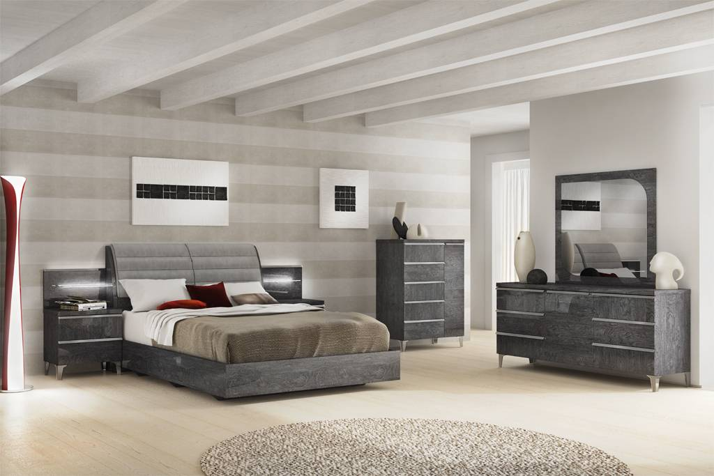 Made in Italy Leather Platform Bedroom Sets with Extra Storage