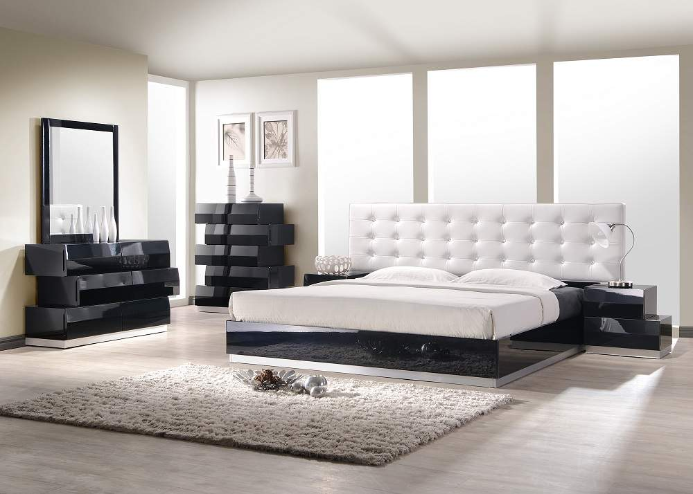 Exquisite leather modern master beds with storage cases for Bedroom furniture set