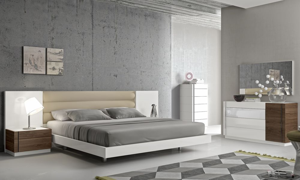 Fashionable leather modern design bed set with long panels detroit michigan j m furniture lisbon Tuscan style bedroom furniture