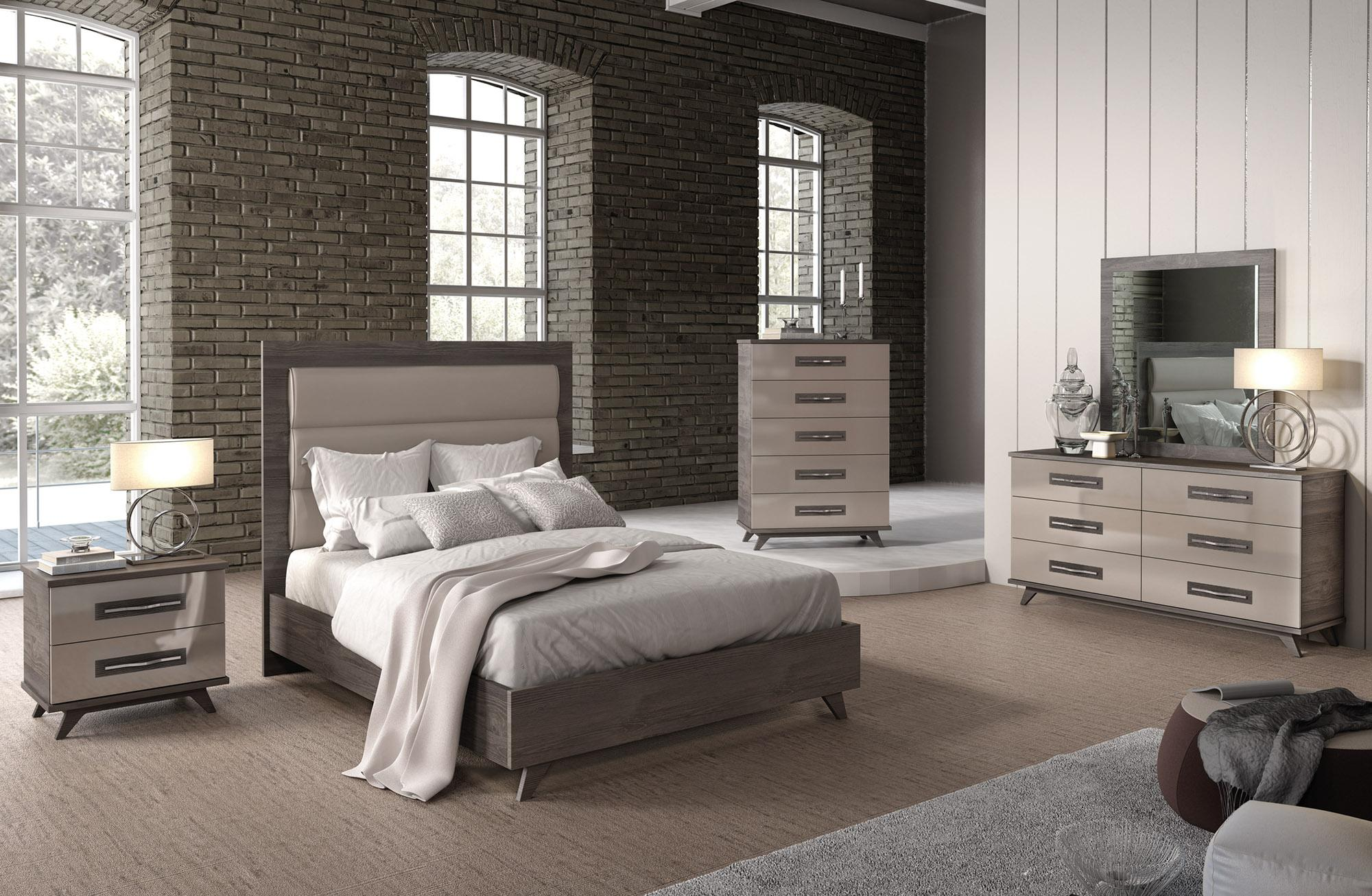Made in italy leather luxury contemporary furniture set los angeles california esf italian for Grey wood bedroom furniture set