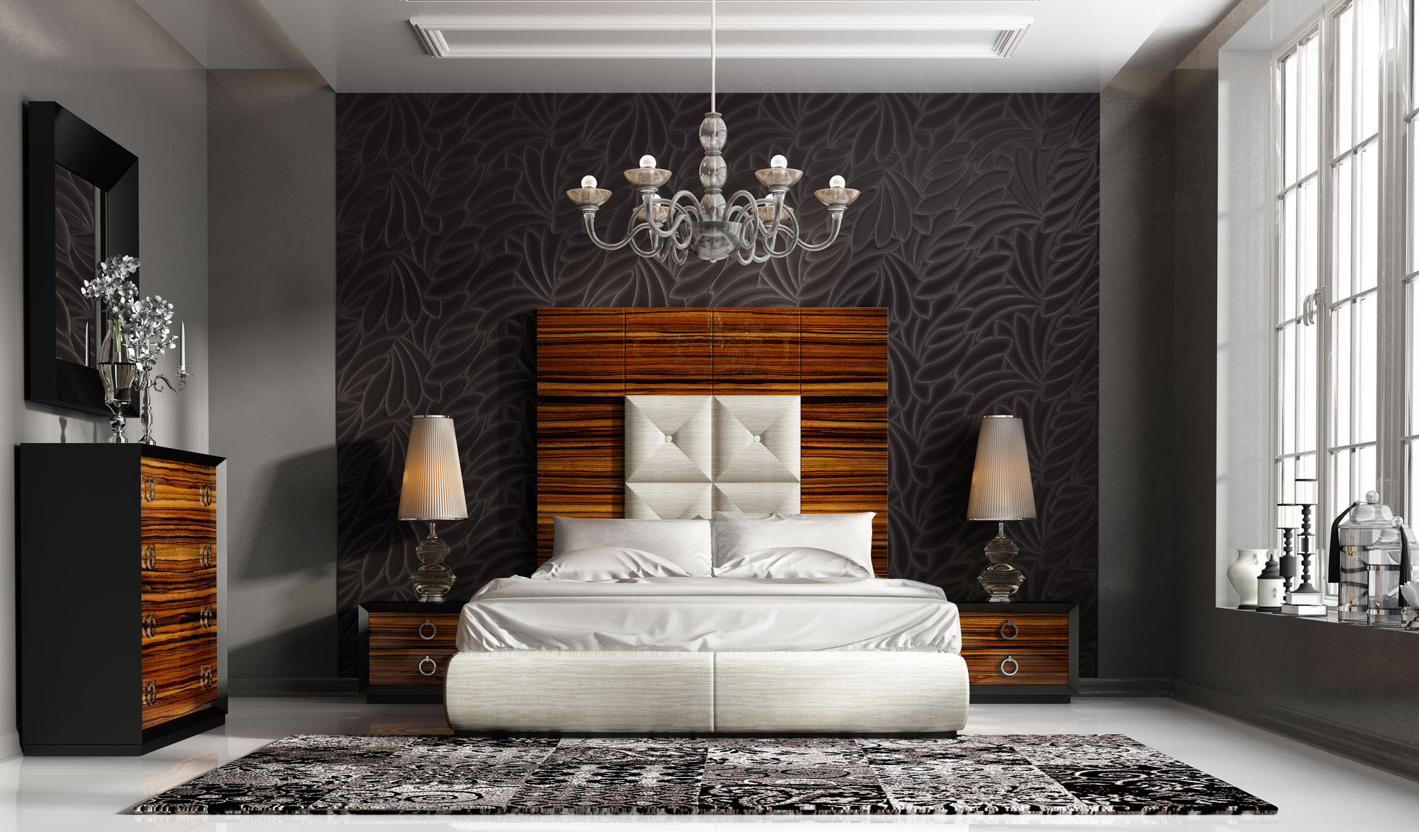 High class leather high end bedroom furniture sets in for High bedroom sets