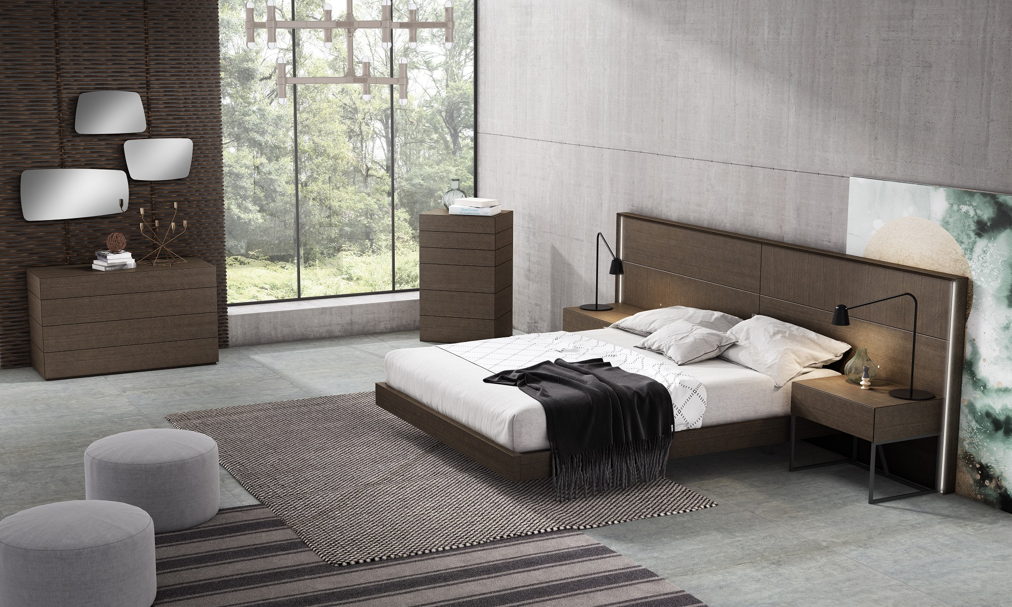 High End Modern Furniture: Stylish Wood High End Contemporary Furniture Set