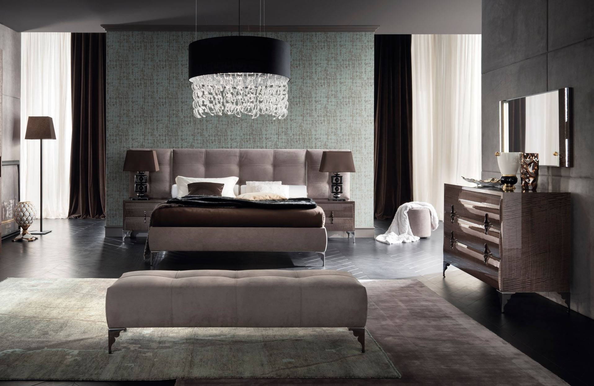 Made In Italy Leather Contemporary Master Bedroom Designs Las Vegas Nevada Rossetto Dune Visone