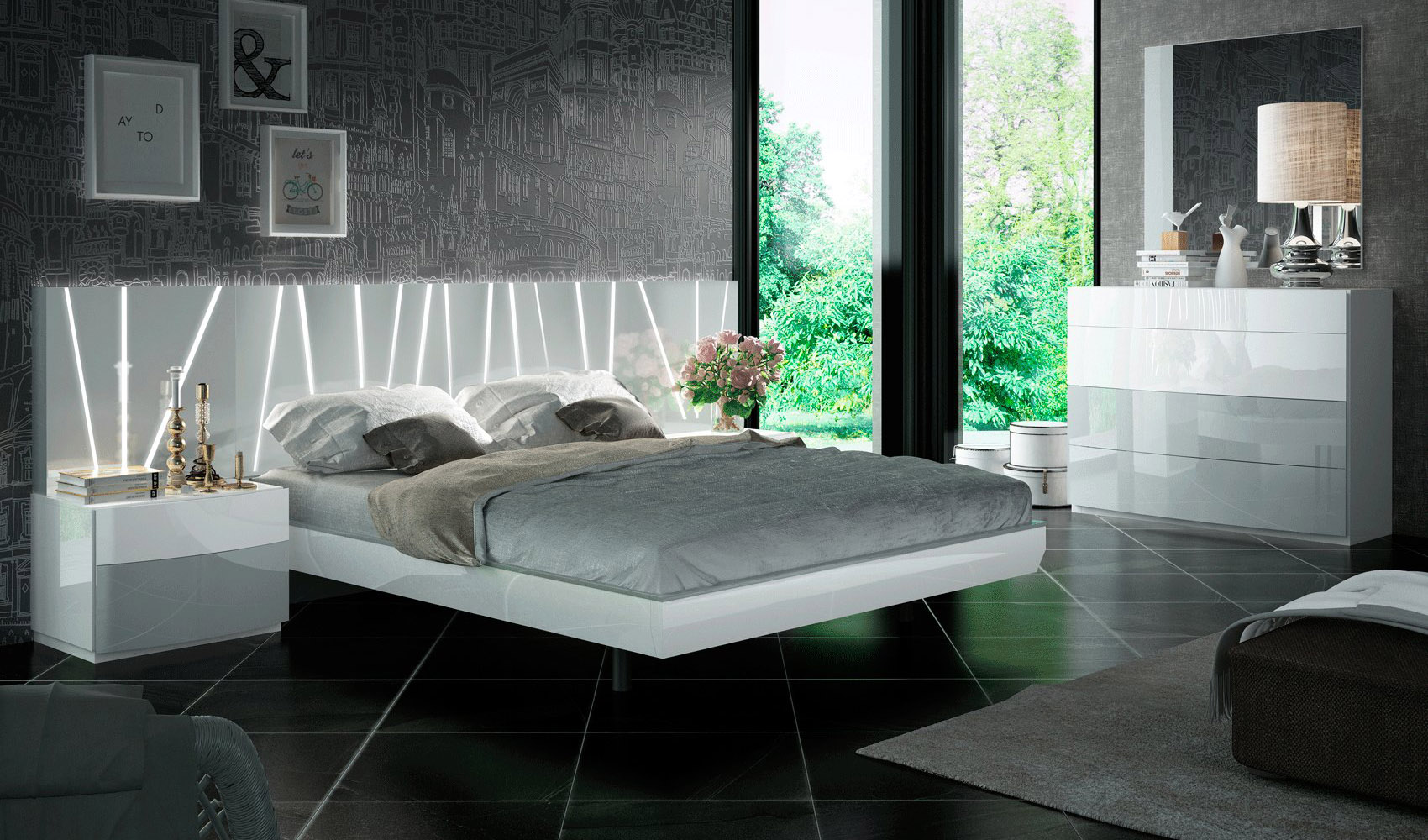 outstanding modern contemporary bedroom furniture | Contemporary European Style Bedroom Set Houston Texas ESF ...