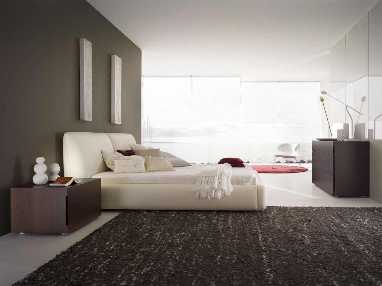 Made in Italy Leather Designer Bedroom Sets with Storage Accessories