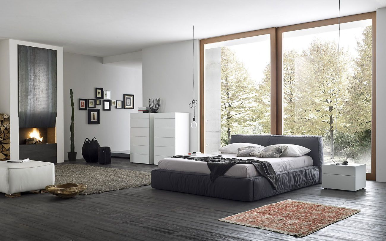 Made in Italy Wood and Nano Fabric Modern Contemporary Bedroom Designs