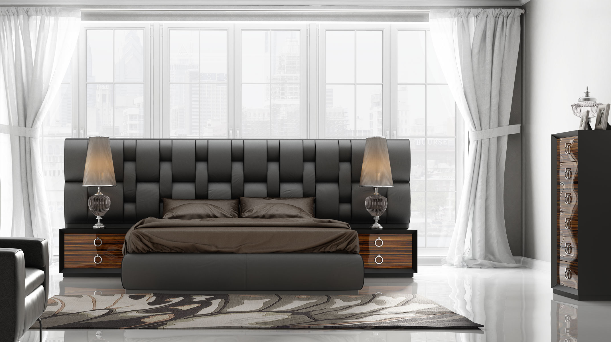 Italian Contemporary Furniture: Contemporary Luxury Bedroom Set With Designer Long