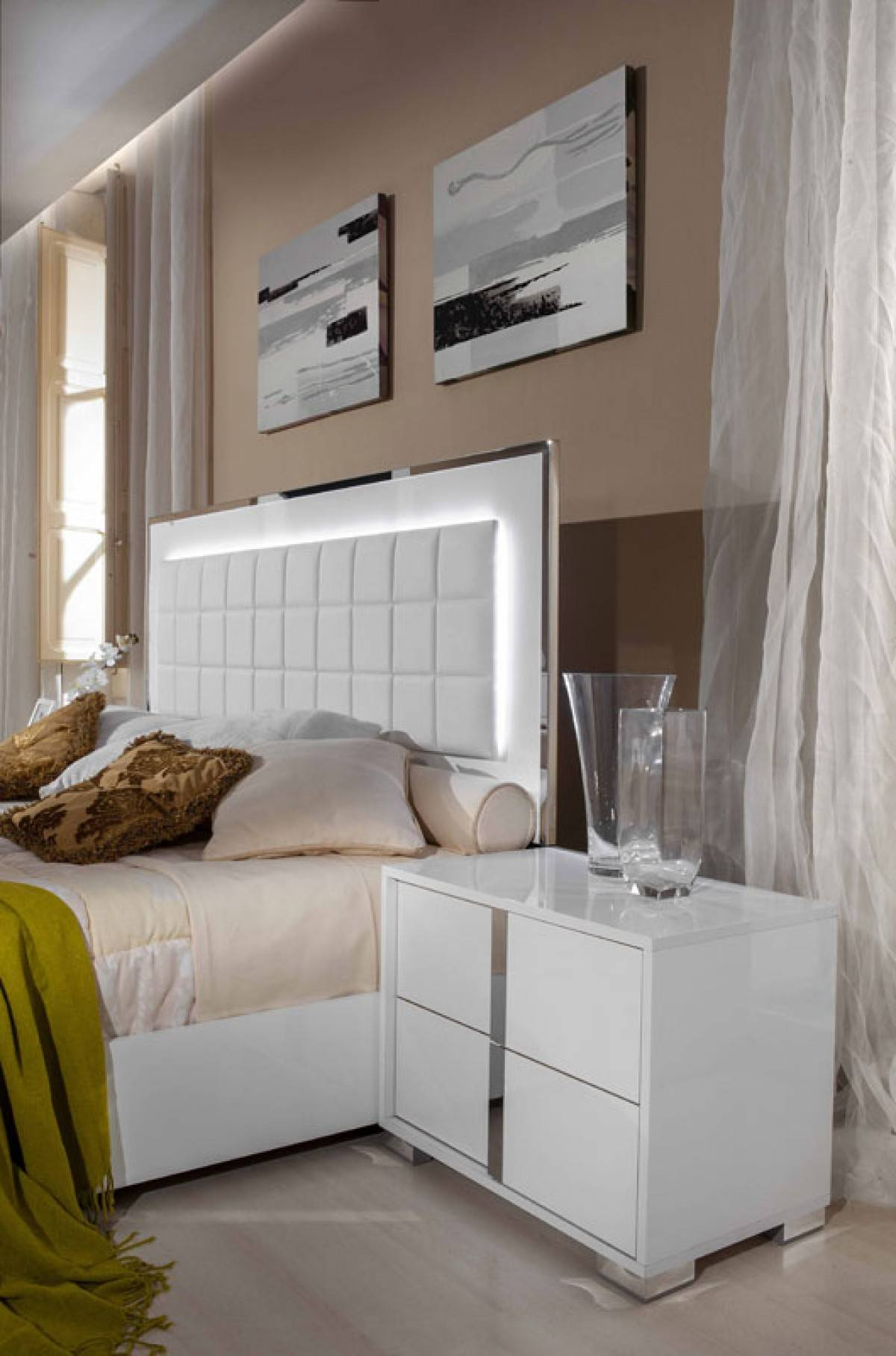 Modrest San Marino Modern White Bedroom Set: Made In Italy Wood High End Bedroom Furniture Feat Light