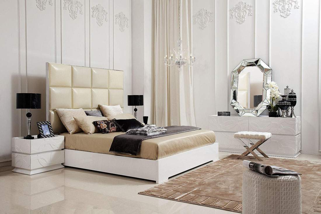 Unique transitional and contemporary luxury bedroom set for Headboard and dresser set