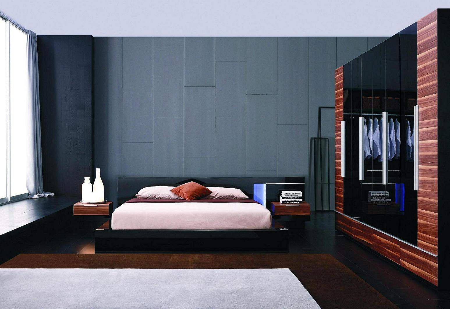 exclusive leather designer bedroom set with blue light