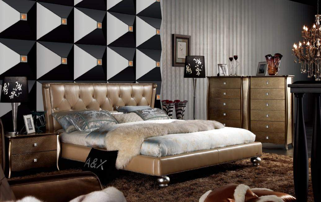 Extravagant Leather High End Bedroom Sets feat Gold Upholstery