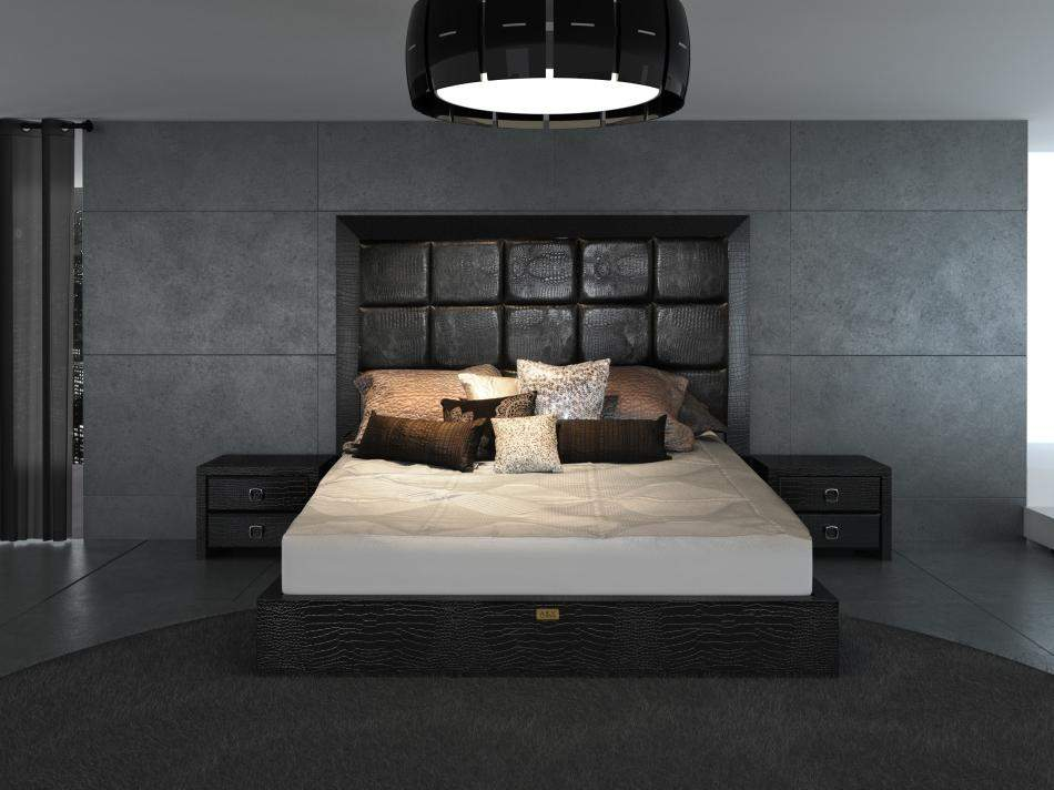 Unique leather contemporary platform bedroom sets mesa for Unique master bedroom furniture