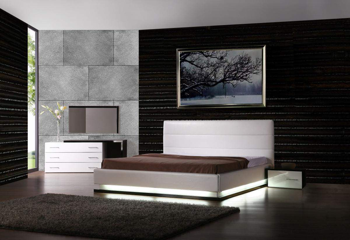 Exotic leather modern contemporary bedroom sets feat light for Modern white furniture