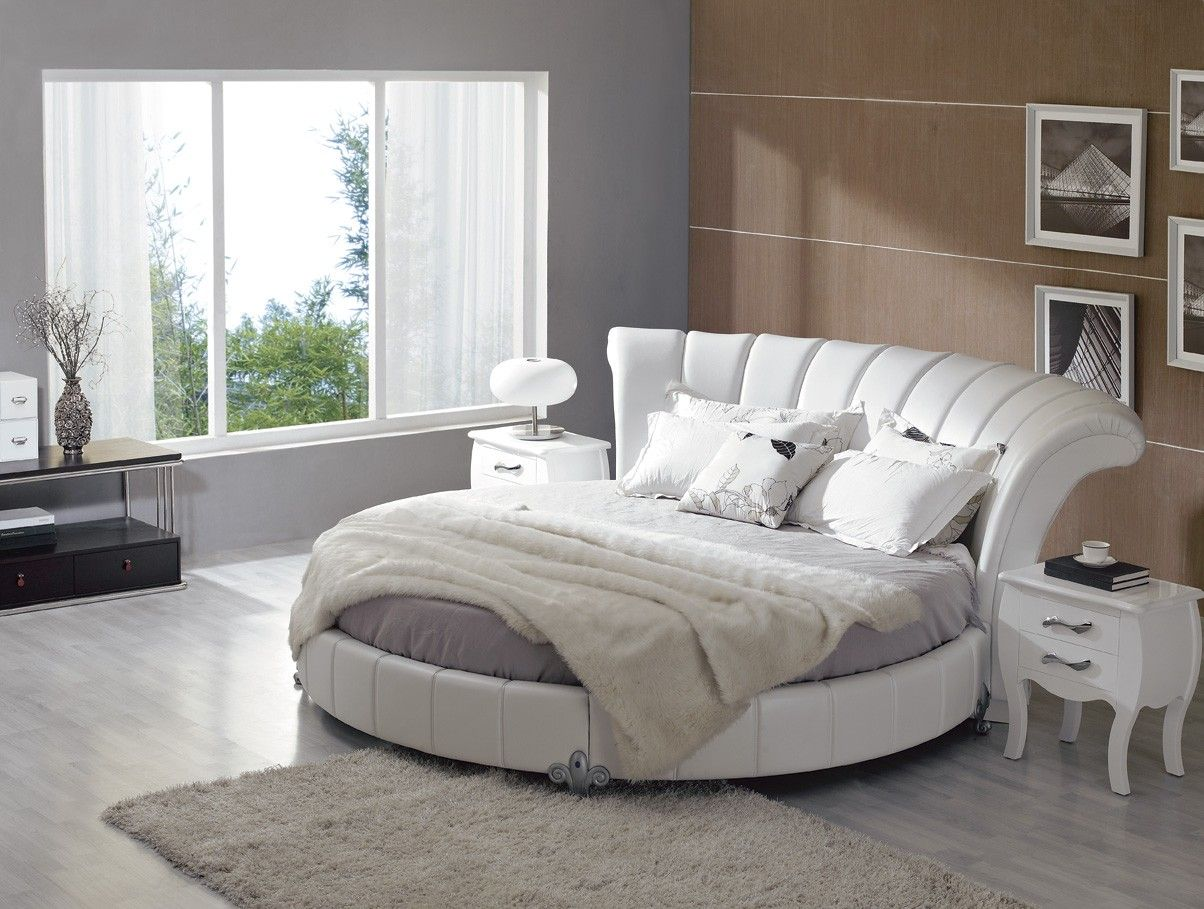 Home Palazzo White Leatherette Round Platform Bed Cool