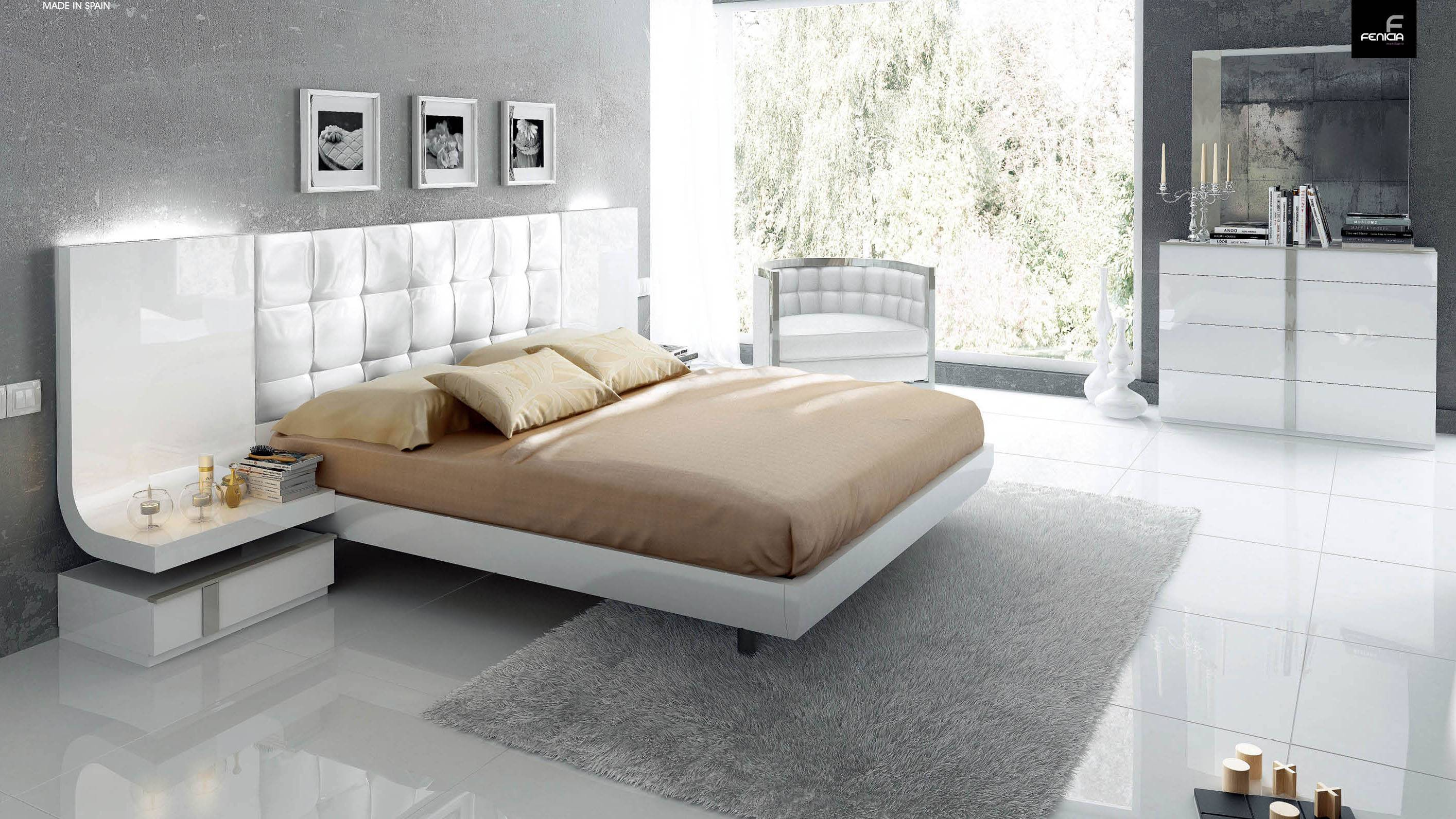 stylish wood elite modern bedroom set with extra storage 16439 | white luxury padded headboard lacquered bedroom esfgranada