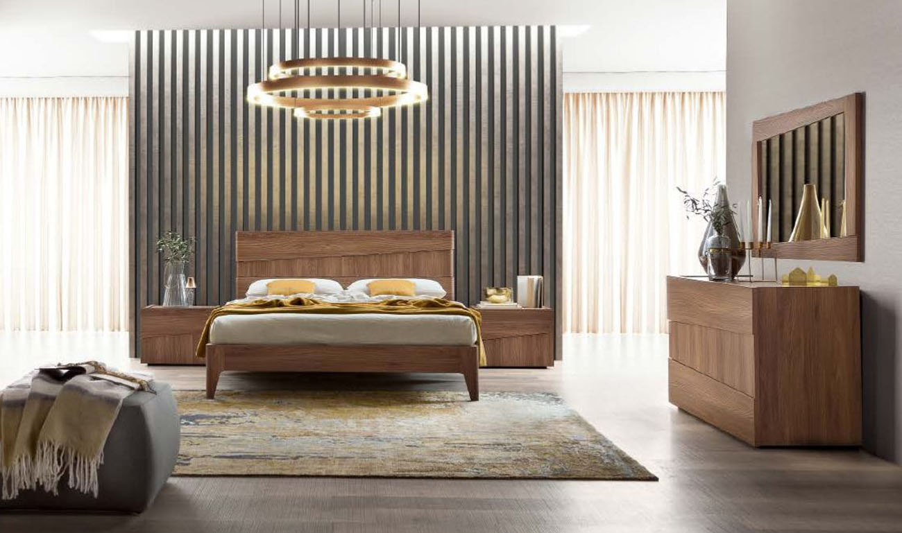 Memphis Bedroom | Walnut Veneer | Gloss Finish | Italian Made