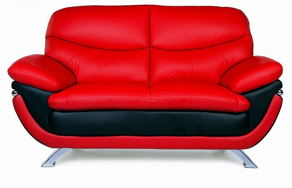 Elegant Contemporary Jonus Leather Loveseat with Two Color Options ...