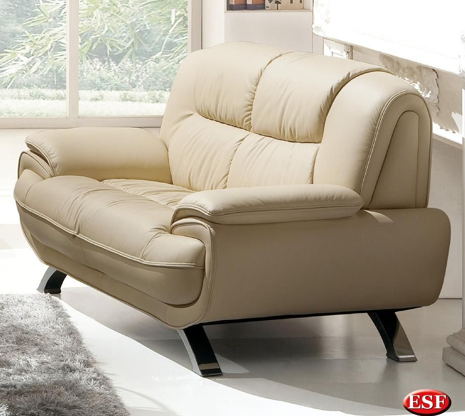 stylish living room loveseat with decorative stitching