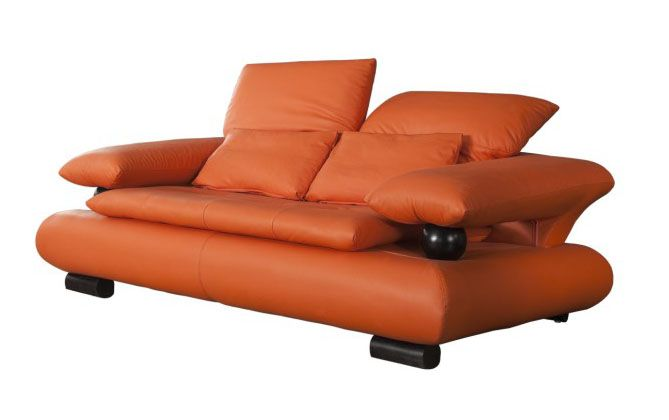 Loveseat In Orange Leather With Wenge Wood Finished Accent Prime Classic Design Modern Italian