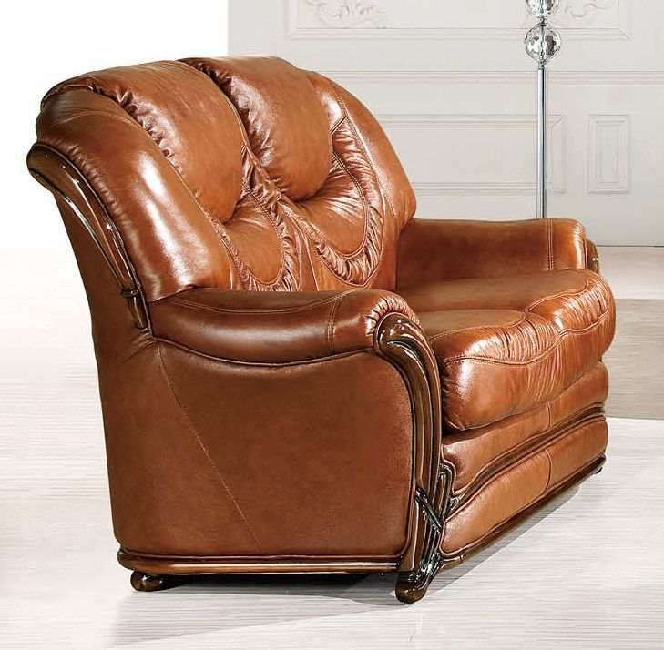 Brown Classic Italian Leather Loveseat Prime Classic Design Modern Italian And Luxury Furniture