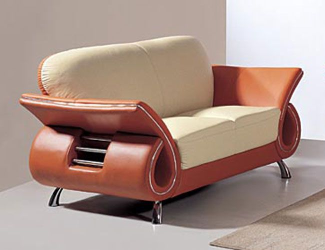 Cool Contemporary Dual Colored Or Black Leather Loveseat With Chrome Details Bralicious Painted Fabric Chair Ideas Braliciousco