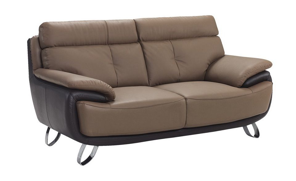 Contemporary Tan Brown Bonded Leather Loveseat Prime Classic Design Modern Italian And Luxury