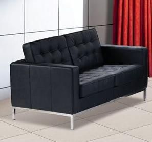 Contemporary Leather Loveseat F08 With Elegant Metal Chrome Legs