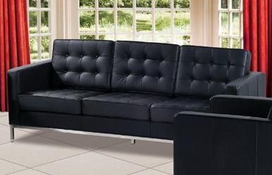 Contemporary Leather Sofa F08 with Elegant Metal Chrome Legs Shop ...