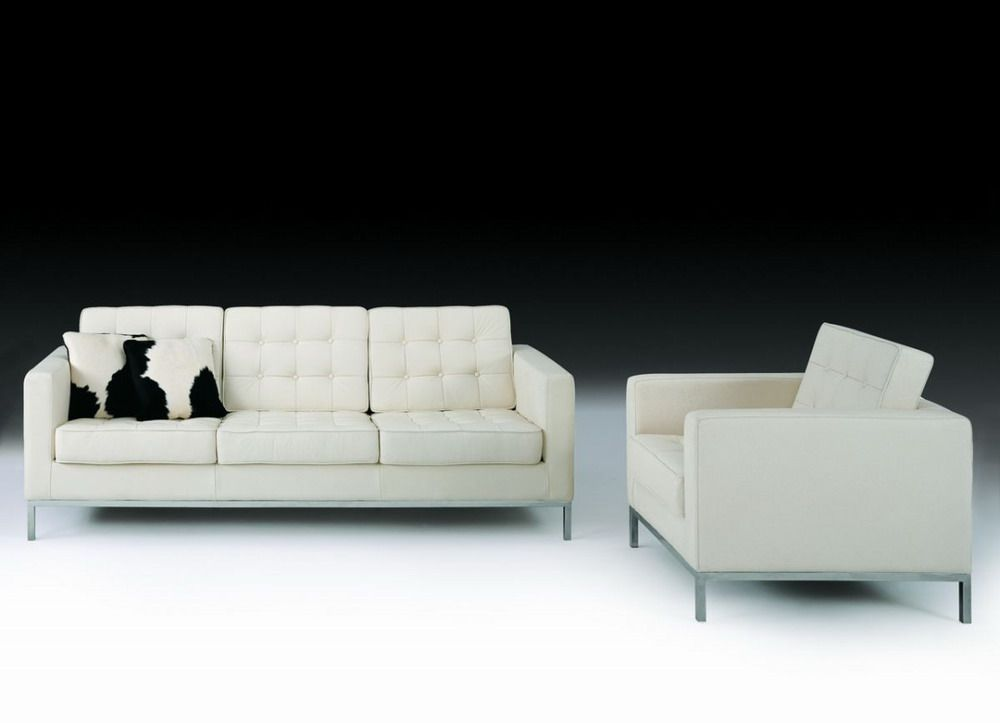 Contemporary Leather Sofa F08 With Elegant Metal Chrome